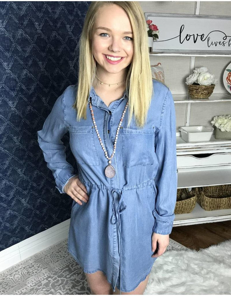 Light Denim Dress with Waist Drawstring