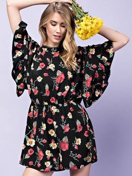 Black Floral Romper with Open Back