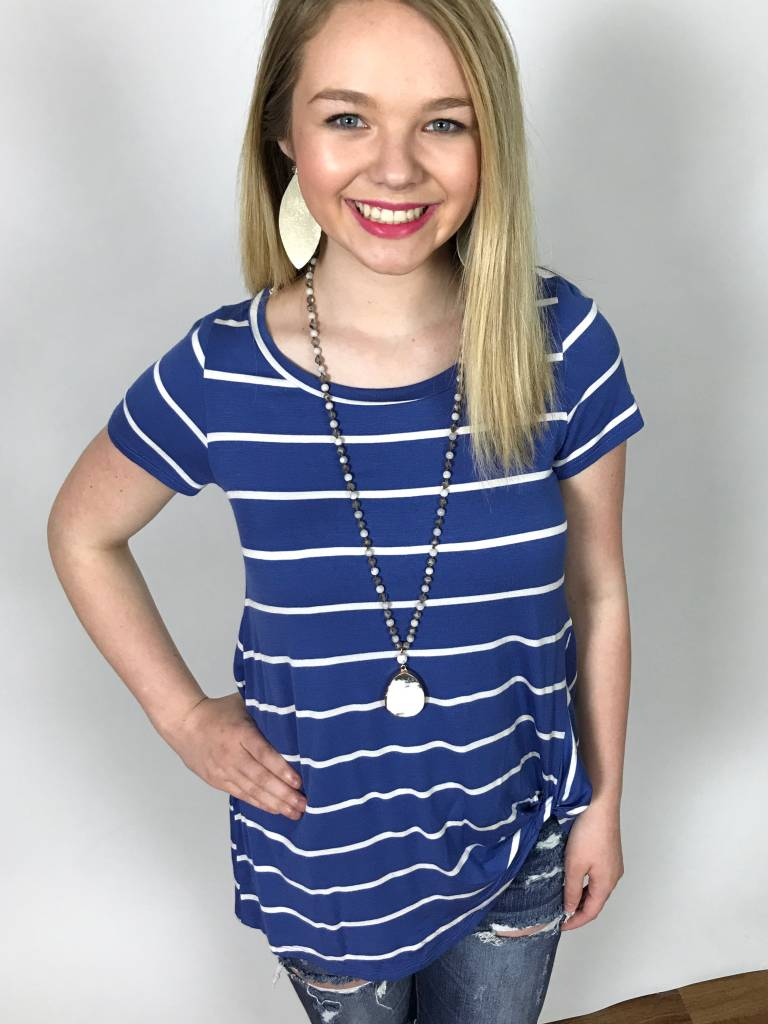 Lillie's Blue Striped Knotted Top