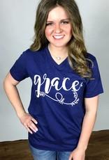 """Lillie's Navy """"Grace"""" T-Shirt- SALE ITEM"""
