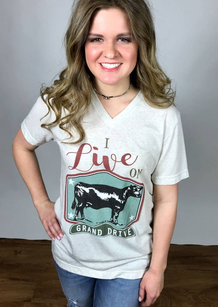 "Heather Oat ""Grand Drive Heifer"" V-Neck T-Shirt"