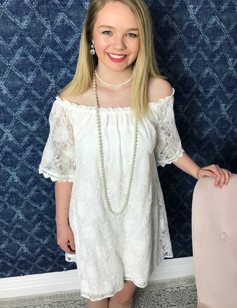 Lillie's Ivory Lace Off Shoulder Dress