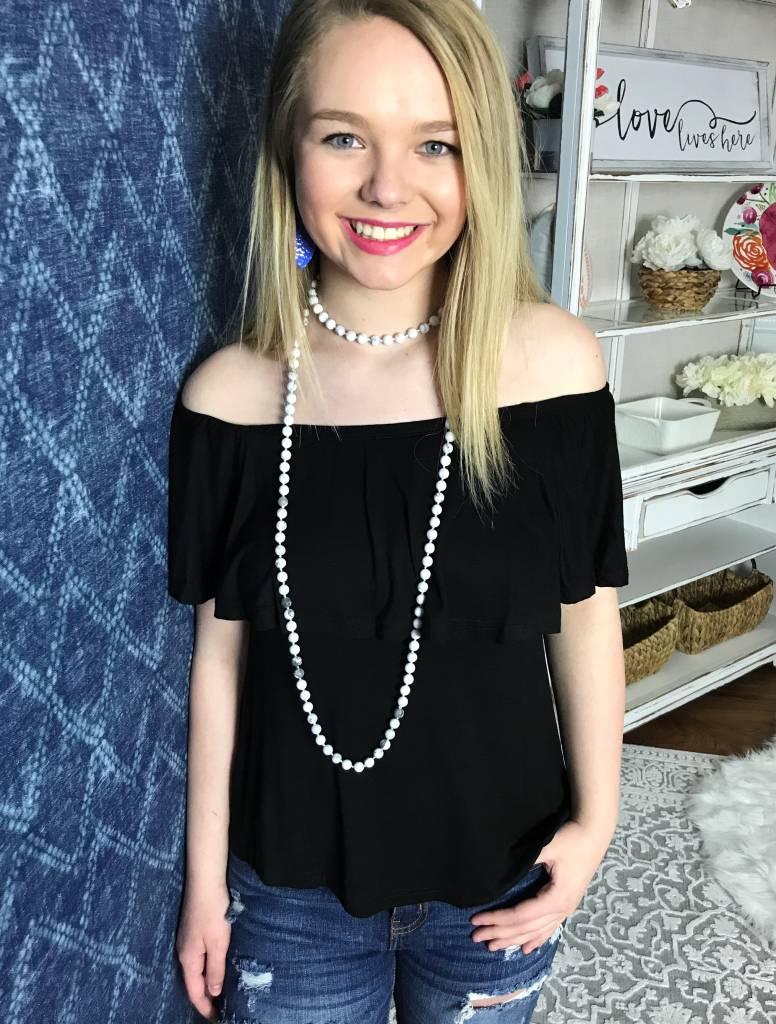 Black Off Shoulder Short Sleeve Knit Top