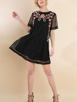 Black Floral Sheer Mesh Dress