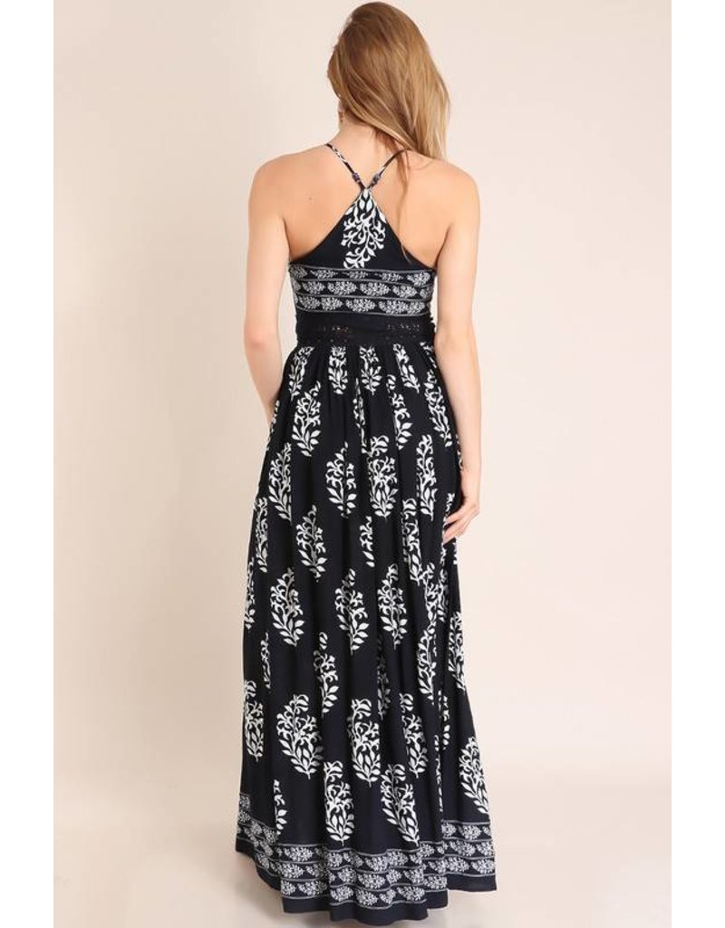 Lillie's Navy Sleeveless Long Dress Side Slit Dress with White Detail - SALE ITEM