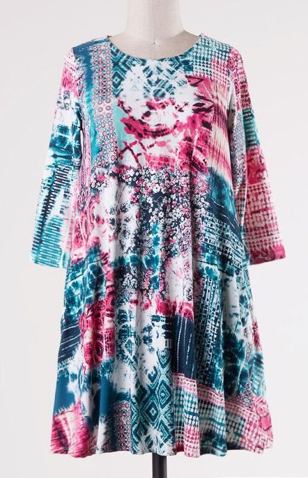 Lillie's Pink / Teal Abstract Soft Tunic