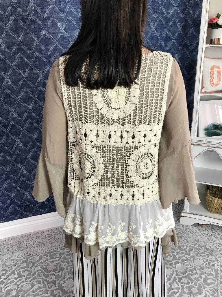 Beige Lace/Crochet Vest with Embellished Pearls