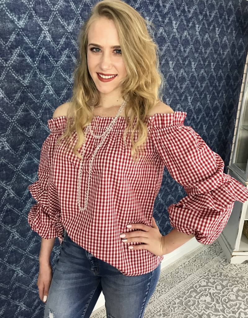 Lillie's Red Plaid Off Shoulder Ruffle Sleeve Top