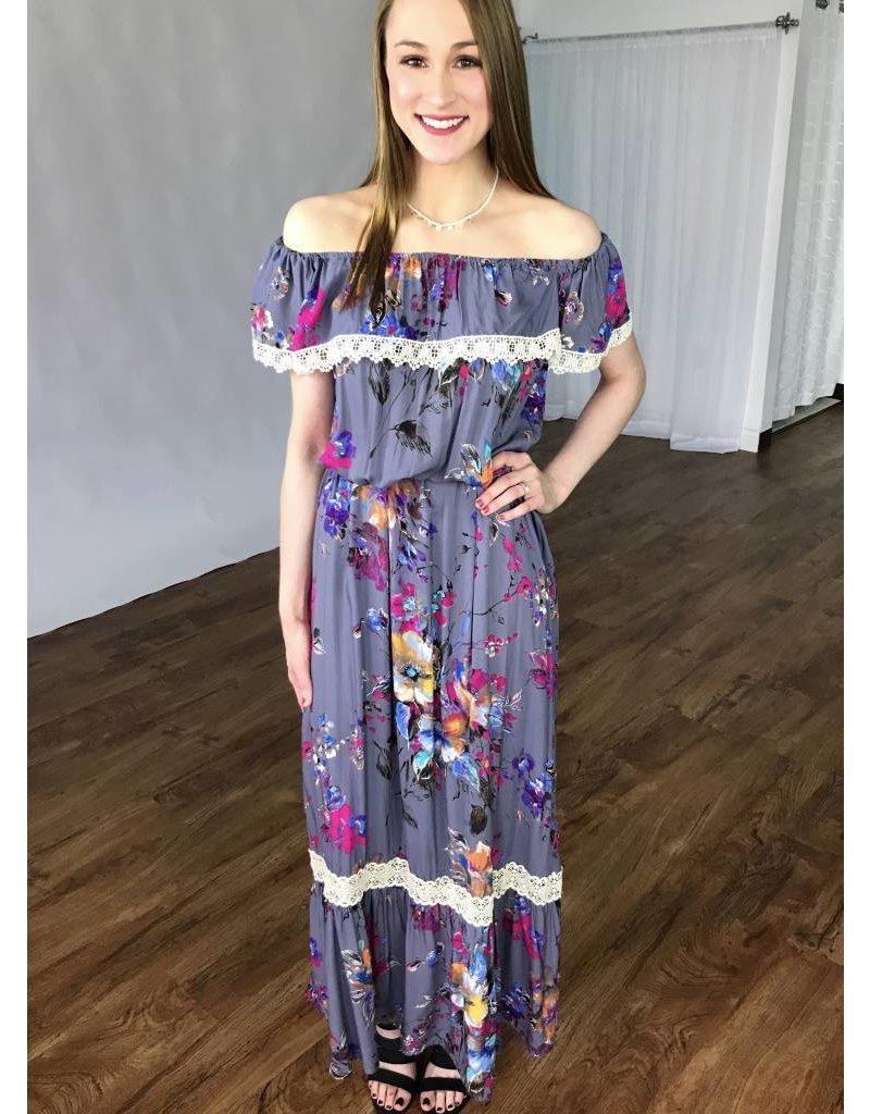 Lillie's Grey / Pink Mix Floral Off Shoulder Maxi Dress- SALE ITEM