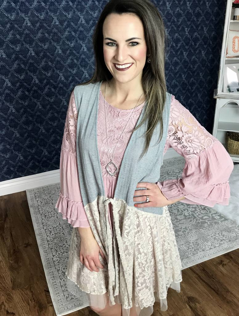 Grey/Taupe Lace and Light Knit Vest