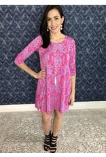Lillie's Fuchsia Damask Print 3/4 Sleeve Dress- SALE ITEM