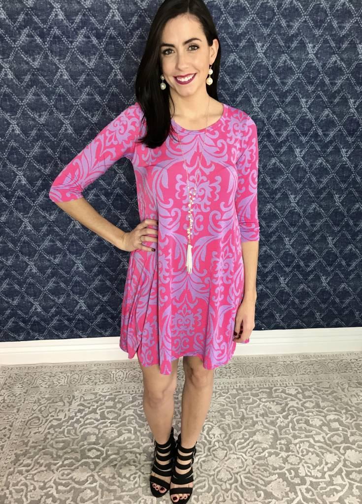 Lillie's Fuchsia Damask Print 3/4 Sleeve Dress