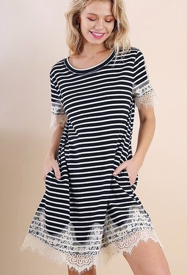 Black / White Striped Dress with Lace Detailing