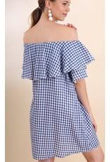 Blue Gingham Off Shoulder Ruffle Dress