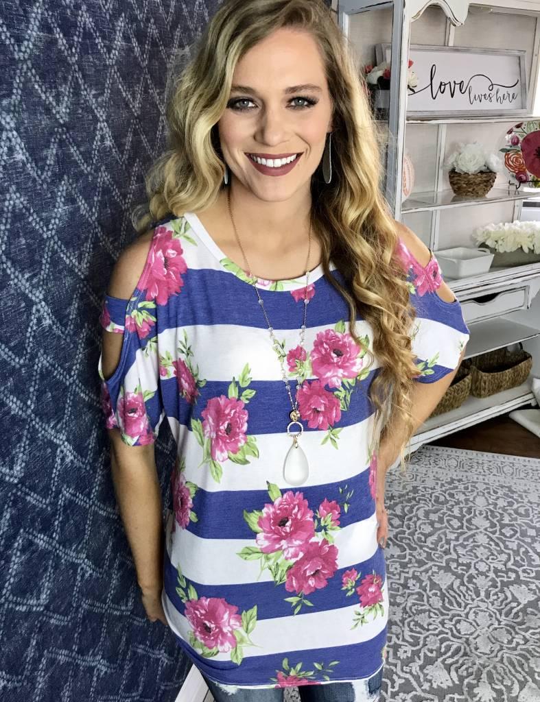 Lillie's Blue / White  Striped Floral Cold Shoulder Top
