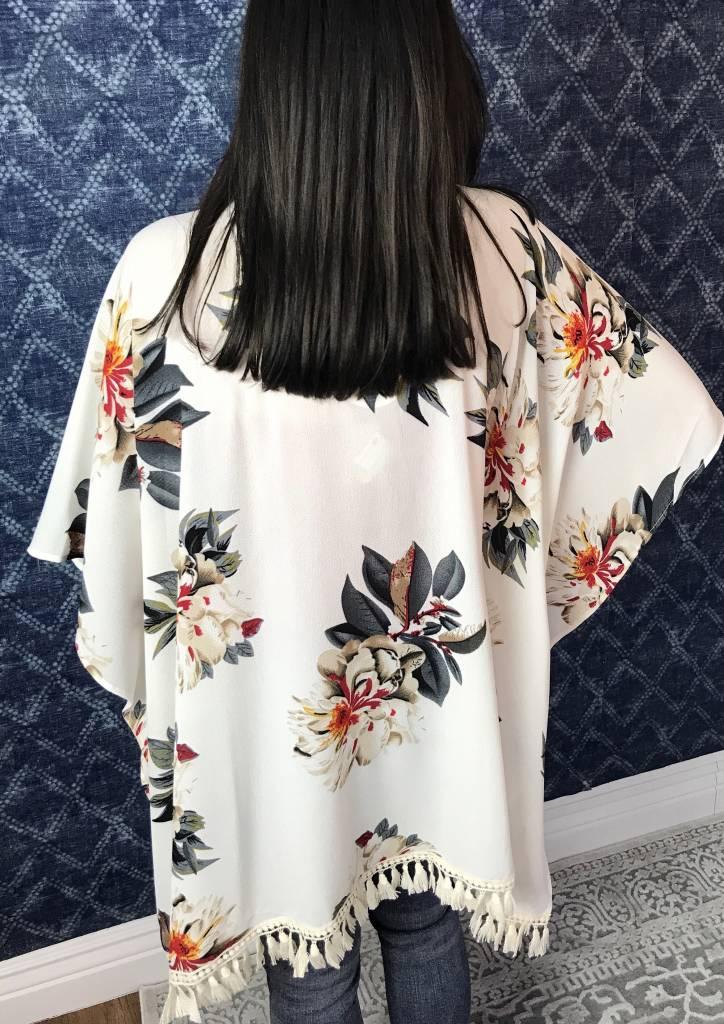 Lillie's Cream Floral Tassel Open Front Kimono