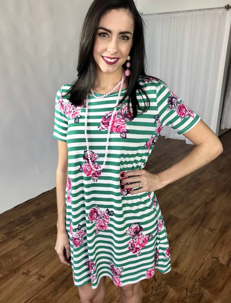Jade Striped Floral Simple Tunic