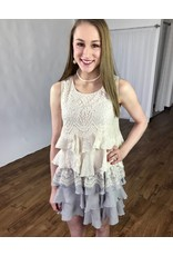 Beige/Grey Lace Tiered Layer Ruffle Tunic- SALE ITEM