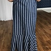 Denim Striped Ruffle Wrap Maxi Skirt- SALE ITEM