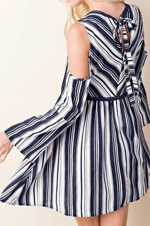 Navy Stripe Mix Cold Shoulder V-Neck Dress- SALE ITEM