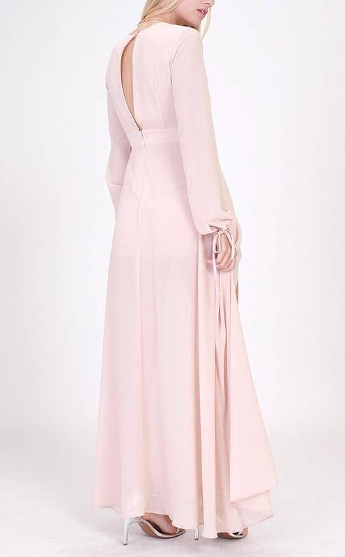 Classy Blush Long Sleeve Overlay Front Detail Maxi Romper- SALE ITEM