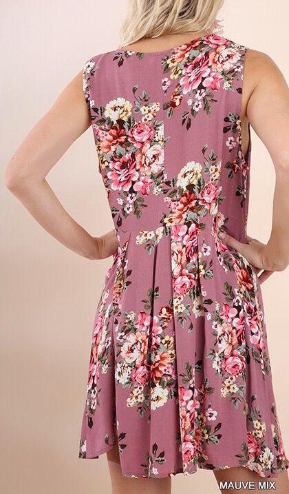 Mauve Mix Floral V-Neck Lace Sleeveless Dress