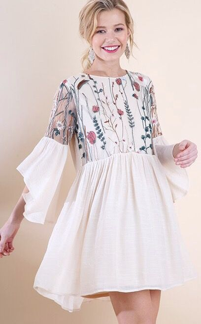 Natural Floral Embroidered Mesh Bell Sleeve Dress