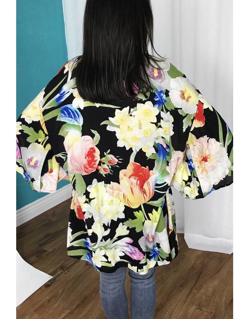 Lillie's Black Floral Mix Open Front Kimono