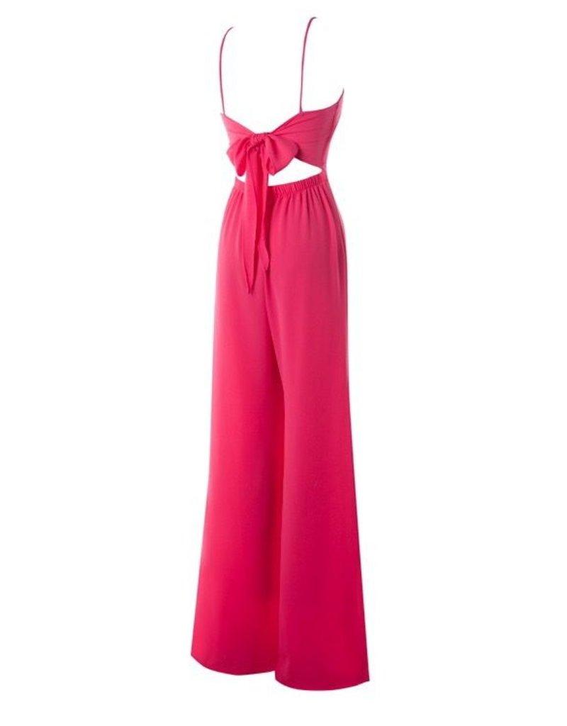 Hot Pink Spaghetti Strap Back Cutout Light-Weight Jumpsuit- SALE ITEM