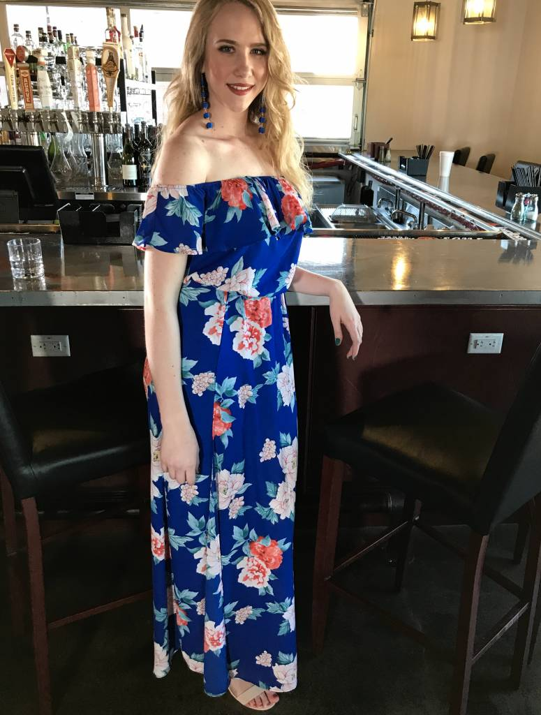 Lillie's Royal Blue Mix Floral Off Shoulder Maxi Romper