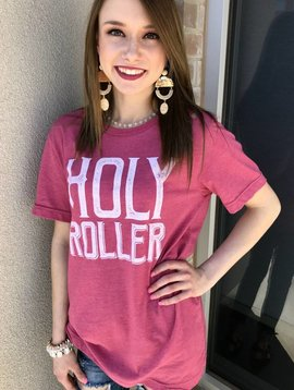 """Berry """"Holy Roller"""" Distressed T-Shirt"""