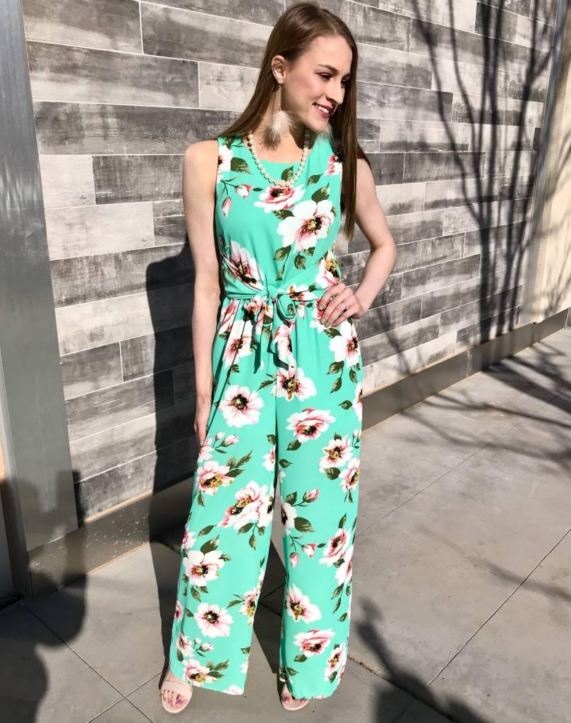 Lillie's Jade Floral Front Tie Romper