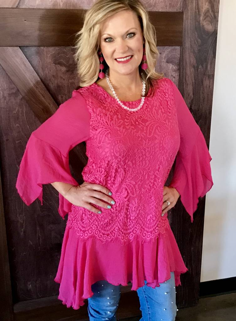 Hot Pink Lace Tunic with Layer Ruffle Detail