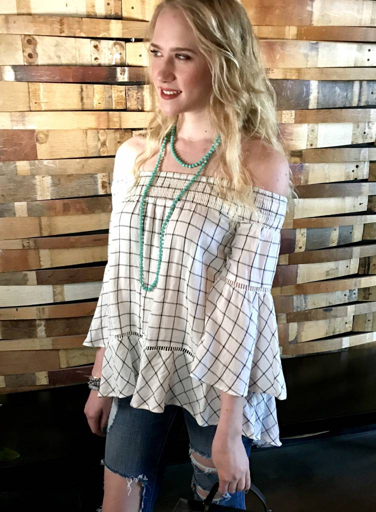 Off White Off Shoulder Plaid Ruffle Sleeve Hi Low Top