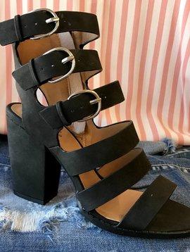 Black Multi Strap Heel Sandal