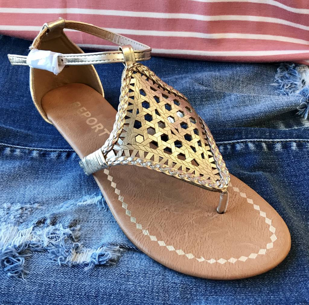 Gold Sandal with Braided Detail