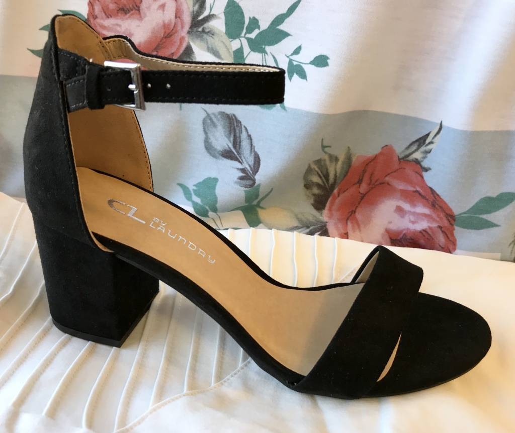 Black Sandal Shoe with Block Heel