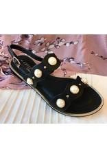 Lillie's Black Double Strap Pearl Sandal