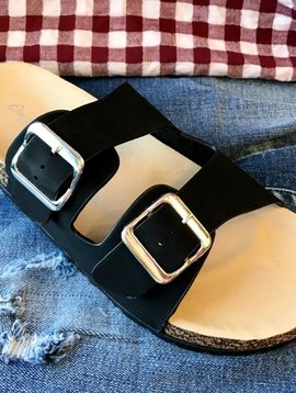 Black Double Strap Buckle Flat Sandal