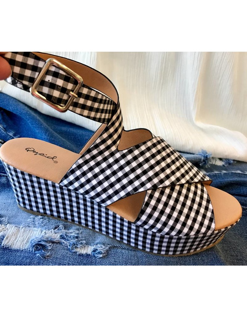 Black/White Gingham Print Strappy Block Wedge
