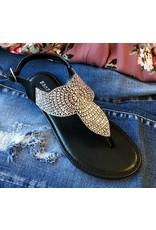 Black Festive Jeweled Flat Sandal