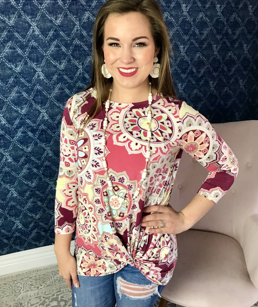 Pink Mix Floral Knotted Top