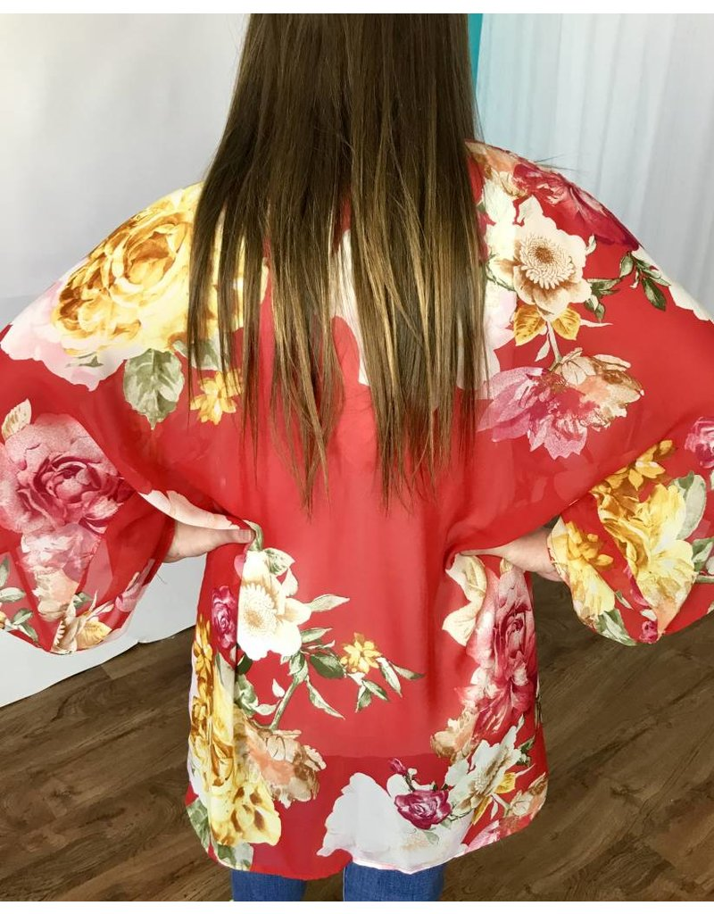 Lillie's Red Floral Light-Weight Open Front Kimono