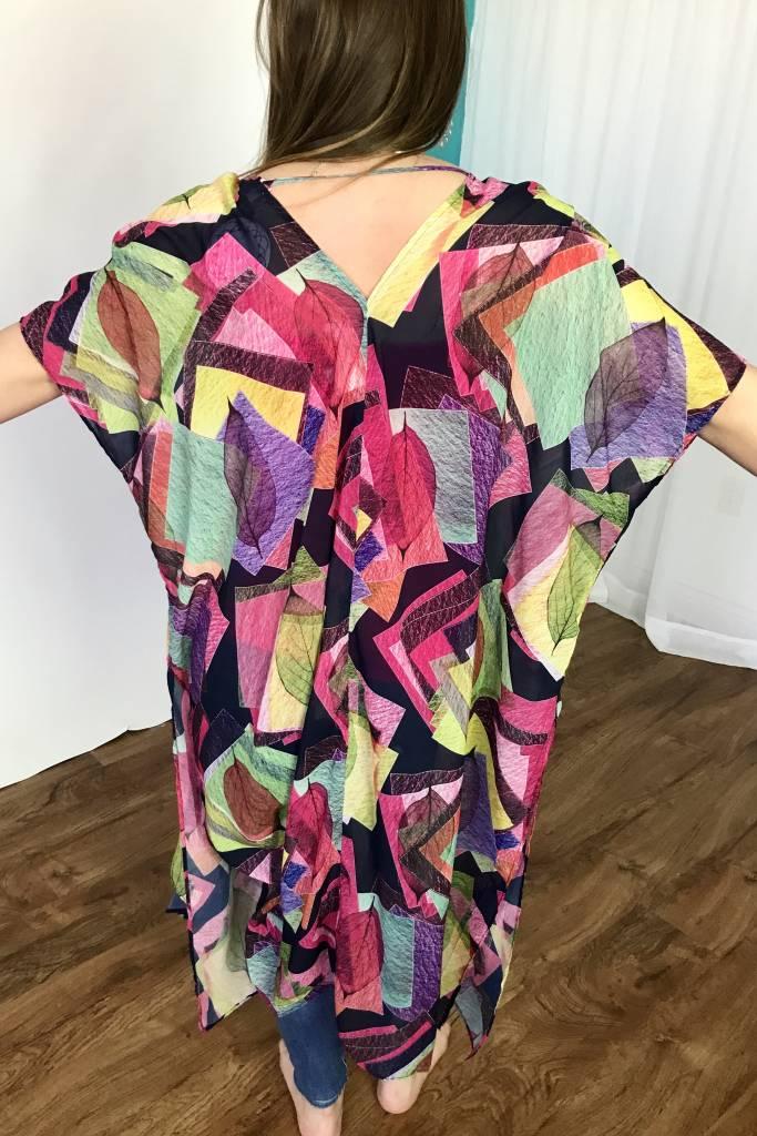 Lillie's Pink Mix Sheer Geo-Leaf Open Front Cardigan Side Slits
