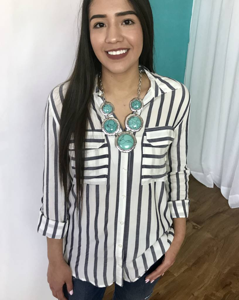 Lillie's Grey / White Striped Button Up Top