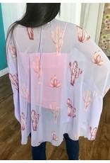 Lavender Cactus Print Dolman Kimono