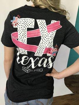 Lillie's Dark Grey Front Pocket TX Back Graphic V-Neck T-Shirt