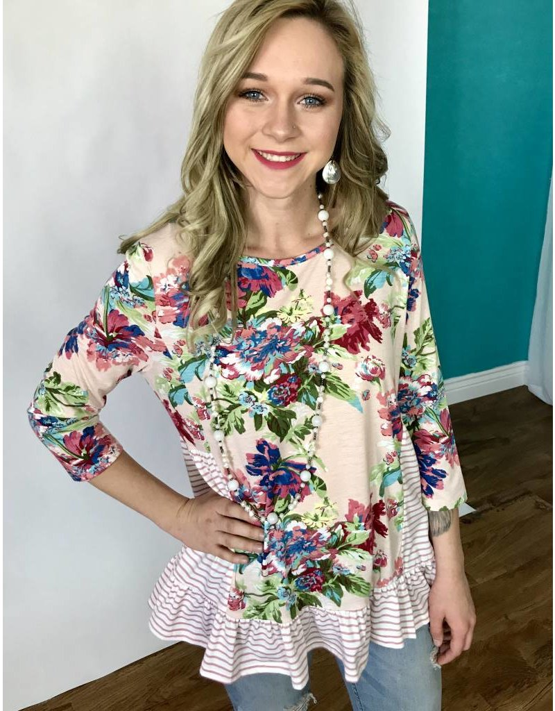 Lillie's Faded Peach Floral Top with Frill Striped Contrast