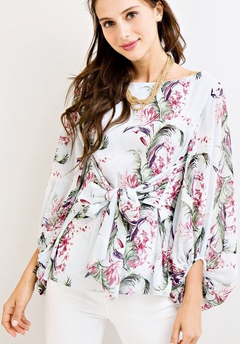 Light Blue Floral Top Self-Tie Fluffy Sleeves