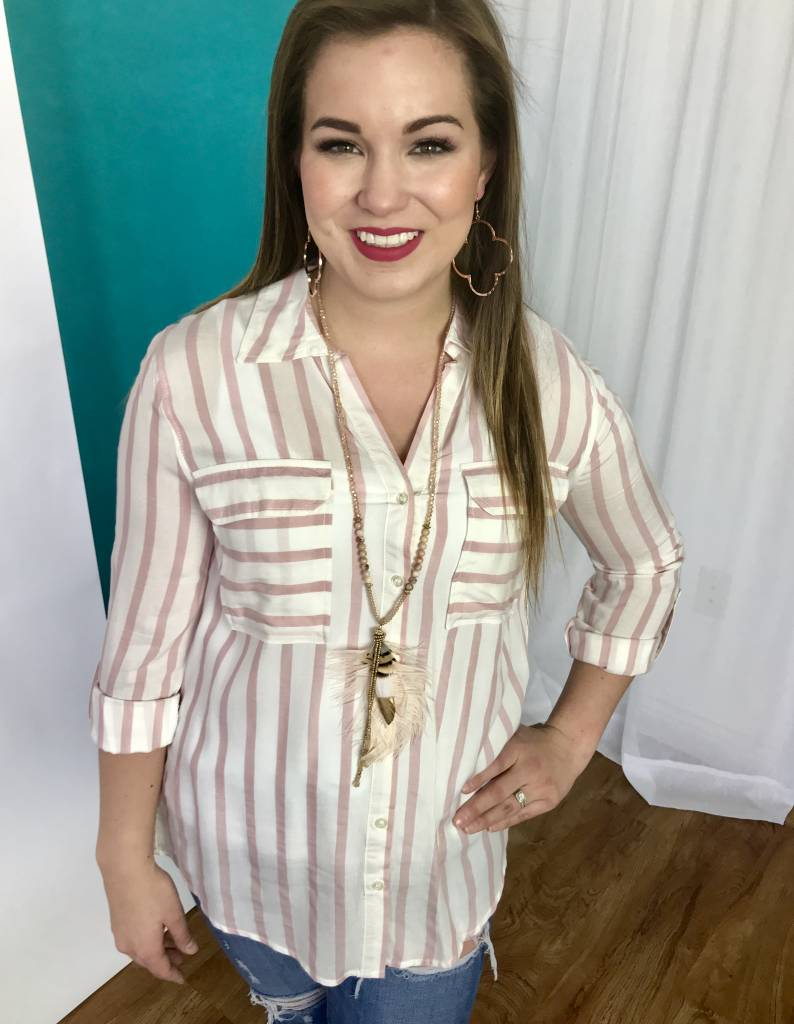 Lillie's Pink / White Striped Button Up Top